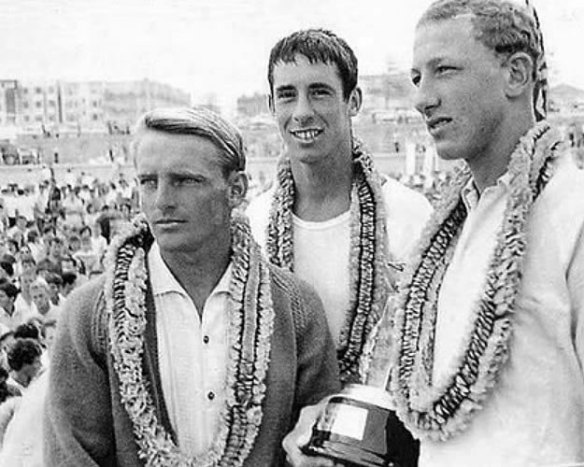 Mick Dooley, Robert Lane, Nat Young, Bondi 1963.