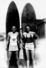 Harry 'Salty' Nightingale and Frank 'the Blade' Griffiths, in front of Bondi Surf Club, 1928.