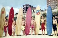 South Bondi Board Club members pose for a Women's Weekly article about the new 'hot dog' style of surfboard in 1958. L to R: Scott Dillon, Bluey Mayes, Andy Cochran, Rod Cartlidge, Barry Ross, Des Price. Photo: Ernie Nutt.